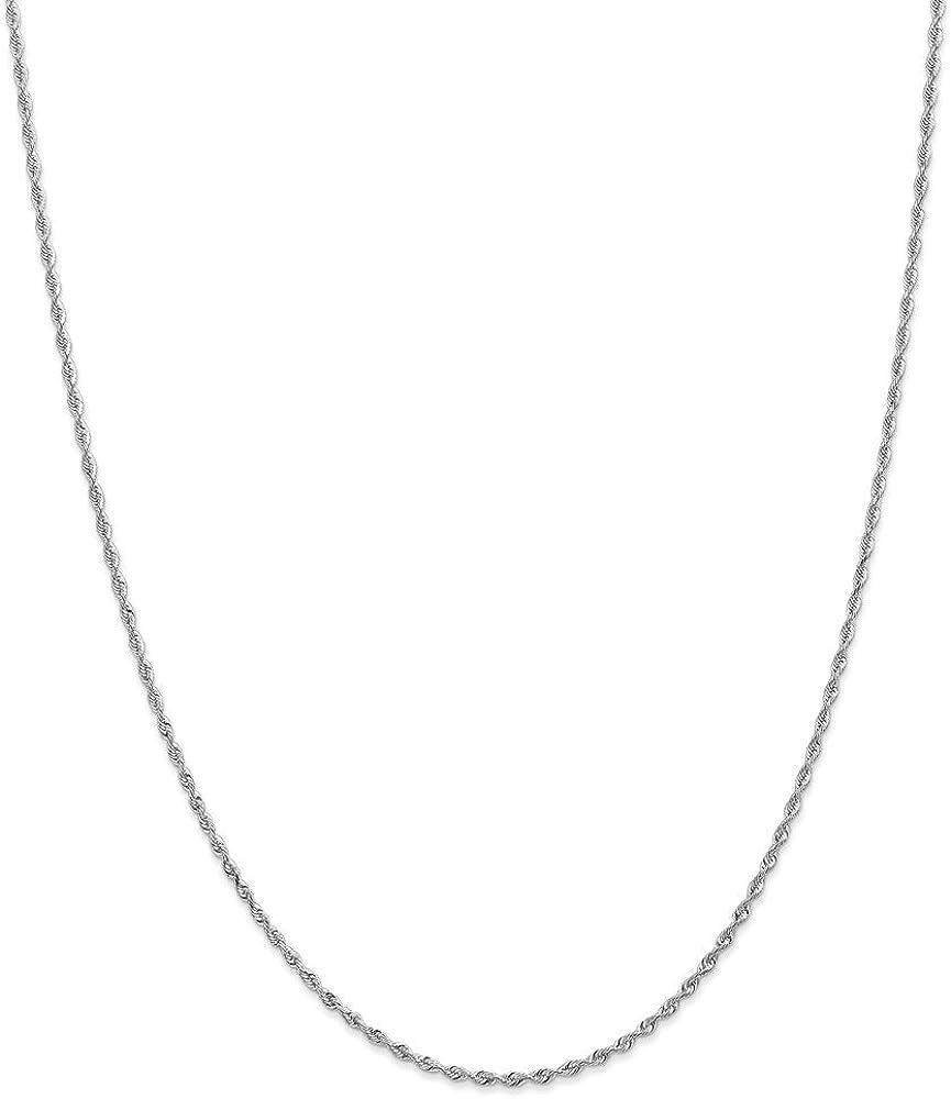 10k White Gold 1.84mm Quadruple Rope Chain Necklace for Men Women