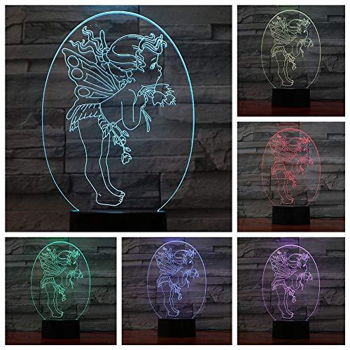Lámpara de noche LED 3D, lámpara de ilusión de ángel Cupido, lámparas de escritorio, decoración de habitación de niños, mejor festival, regalos de cumpleaños para niños pequeños