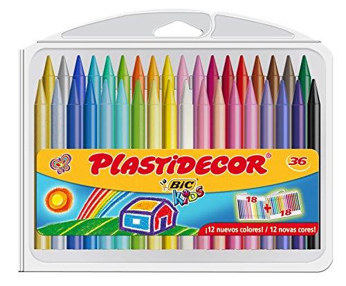 BIC Kids Plastidecor - Estuche de 36 unidades, ceras de colo