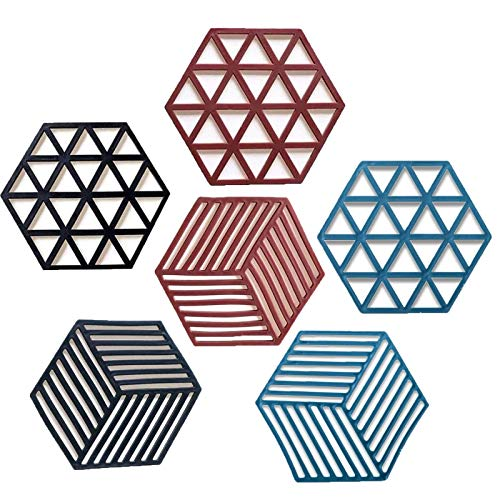 Boyigog 6 sottopentola antiscivolo per pentole e padelle, in silicone di alta qualità, resistente al calore, flessibile, durevole, lavabile in lavastoviglie, 15 x 13 cm