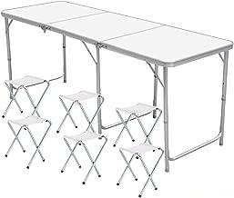 Nestling®1.8M 6 ft(mit 6 hockern) Garten im Freien Aluminium tragbare Klapp Camping Picknick Party Feld Küche BBQ Tisch Extra Stärke Portable Indoor Outdoor- Weiß