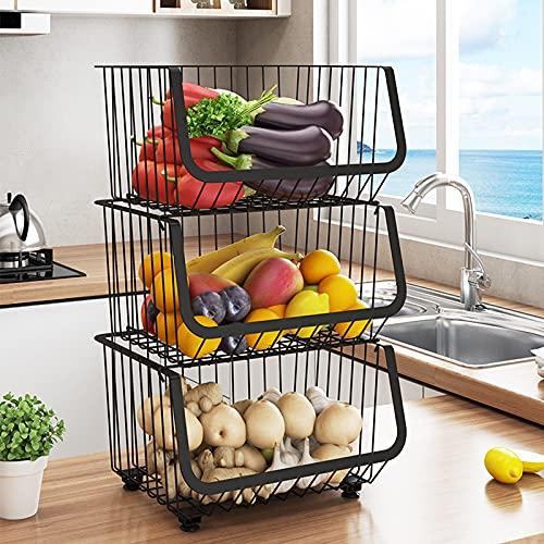 Carrito de almacenamiento de cocina para frutas y verduras de 3 niveles con ruedas, carrito de utilidad de 41,5 cm x 35 cm x 60 cm