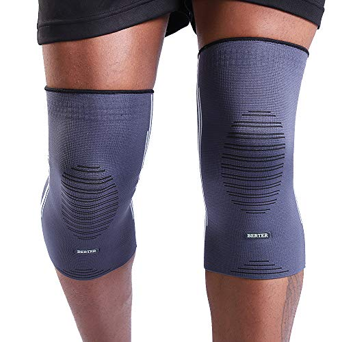 """BERTER Knee Compression Sleeve Support for Running, Jogging, Sports - Brace for Joint Pain Relief, Arthritis and Injury Recovery - A Pair (Grey-Blue, Large(17.5-20.5""""))"""