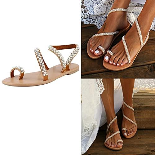NGLSCXR Sandalias planas de perlas de cristal de verano para mujer Sandalias con correa en T de perlas para mujer Sandalias planas blancas de novia Zapatos de boda en la playa Sandalias planas de play