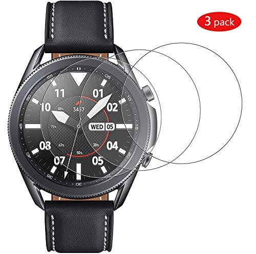 GEEMEE per Samsung Galaxy Watch 3 45mm Pellicola Vetro Temperato, 9H Protezione Schermo, Anti Graffi HD Trasparenza Protettiva Screen Protector Film-3 Pack (Transparente)