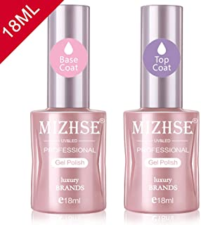 MIHZSE 18ml No Wipe Gel Top Coat and Base Coat Set- Gel Nail Polish Sock Off UV LED Long-Lasting and Shiny Finish