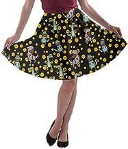 CowCow Womens Pixeled Dinosaur Pattern T Rex A Line Skater Skirt - XL Black Gray