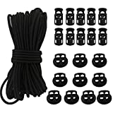 20pcs Plastic Cord Locks with 1/8-Inch 50ft Elastic Cord Heavy Stretch Round String, 10Pcs Sing-Hole, 10pcs Double-Hole Spring Toggle Stopper Slider Black (3mm-Black)