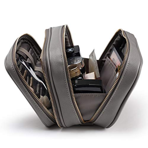 Rownyeon 大容量メイクポーチ コスメポーチ 化粧ポーチ 仕切り付き ブラシ入れ付き コスメ道具収納 ポーチ バッグ ファスナータイプ 持ち運べる 厚め 旅行用 出張用 puレザー