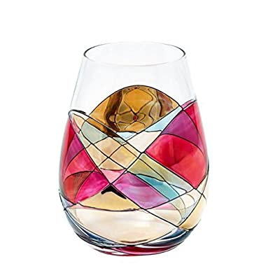 ANTONI BARCELONA Stemless Wine Glass - SET 1 - Unique Hand Painted Gifts for Women, Men, Wedding, Anniversary, Couples, Engagement