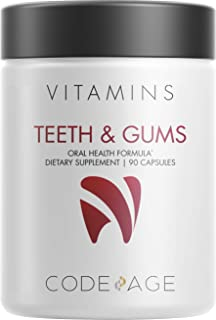 Sponsored Ad - Codeage Teeth & Gums Vitamins + Oral Probiotics Supplement for Mouth - Plant-Based Calcium, Collagen, Magne...