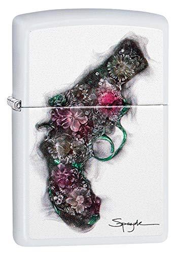 Zippo SPAZUK, Bouquet Revolver Winddichtes Feuerzeug, weiß, Regular