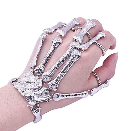 AUTULV Herrenarmband Gothic Punk Schädel Finger Armbänder Für Frauen Nachtclub Skeleton Knochen Hand Finger Flexible Armbänder Armreifen