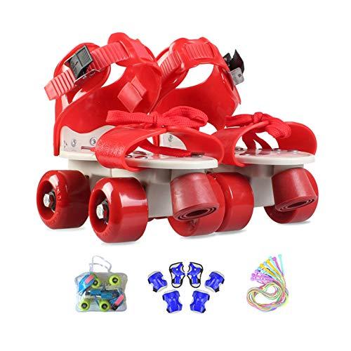 ZCRFY Rollschuhe Kinder verstellbar Für Mädchen Jungen Anfänger Outdoor Mit Schutzausrüstung Rollers Geburtstag Presen,Red-(25-36) Code