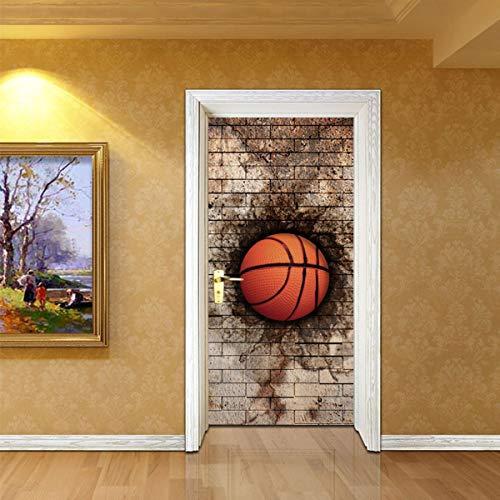 Greatangle-UK 2 unids/Set Creativo DIY Pegatina de Puerta 3D Pared de ladrillo Baloncesto Autoadhesivo PVC Pegatinas de Pared decoración del hogar Papel Tapiz