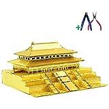 JW-MZPT Puzzle de Metal 3D, Modelo de Edificio de la Ciudad prohibida de Pekín, Juguete de Rompecabezas de Bricolaje con luz y Herramientas USB