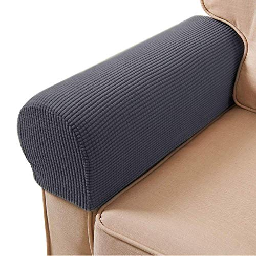 ESRISE Armrest Chair Covers, Stretch Armchair Couch Arm Rest Cover Anti-Slip Spandex Polyester Sofa Chair Arm Caps Slipcovers for Furniture Protector, Set of 2 (Grey)