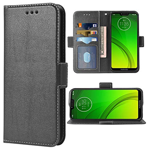 Phone Case for Moto G7 Power/MotoG7 Supra/Moto7 Optimo Max Folio Flip Wallet Case,PU Leather Credit Card Holder Slots Full Body Protection Kickstand Protective Phone Cover for Motorola G 7 7G Black