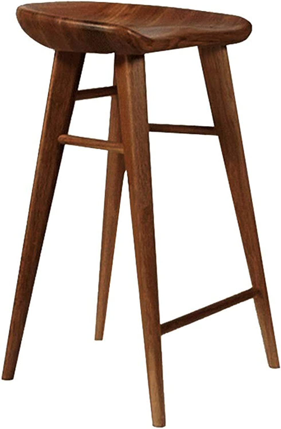 Bar Stool, Solid Wood Bar Stool Chair Dining Chair Home Simple Leisure High Stool Stool Front Desk Chair Study Chair (color   Walnut, Size   55 cm high)