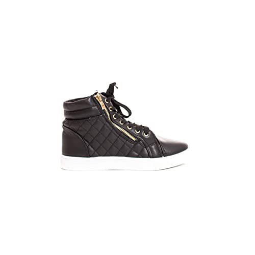 290213b3e69 Soho Shoes Women s Leatherette Quilted Zipper Lace Up High Top Sneakers