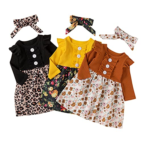 YWLINK Conjuntos De Ropa para NiñAs BebéS Vestido para NiñAs con Volantes De Manga Larga Casual Bowknot Ropa para NiñAs Trajes Falda De OtoñO,Vestido De AlgodóN,Vestido para NiñA De Manga Larga