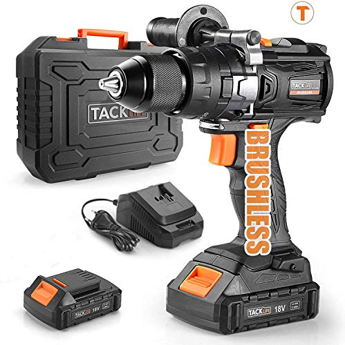 Trapano Avvitatore Batteria Brushless, TACKLIFE 65Nm Trapano Elettrico a Percussione 18V, 2 Batteries 2.0Ah, 1h Caricatore Rapi