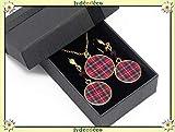 Set Collar de tartán rojo escocés oro latón 24k oro14K regalos personalizados Navidad madre cumpleaños ceremonia de boda invitados día de la madre