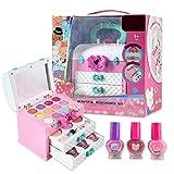 Kit de maquillage pour enfants, trousse de maquillage fille Pretend Play - Lavable - Kit cosmétique - Jouet de maquillage pour enfants - À partir de 3 à 4 5 ans