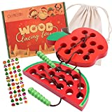 KLT Lacing Toy for Kids, Wooden Threading Toys, 1 Apple and 1 Watermelon with Bag, Educational and Learning Montessori Activity for Baby and Kids, Great Car and Plane Puzzle Travel Games