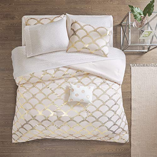 Intelligent Design Lorna Complete Bag Trendy Metallic Mermaid Scale Scallop Print Comforter with Polka Dots Sheet Set, Teen Bedding for Girls Bedroom, Queen, Blush