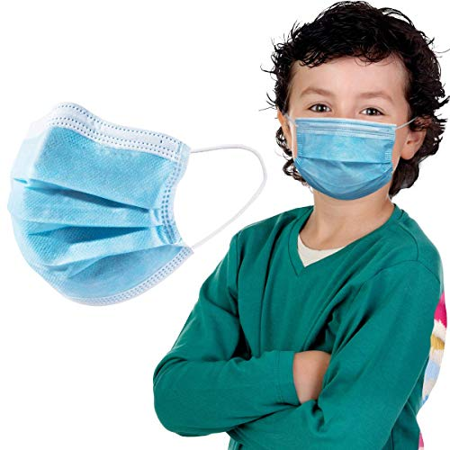 Disposable Kid's Face Mask 3 Layers Melt-Blown Safety Mask Breathable and Comfortable Elastic Ear Loop, Pack of 50 PCS