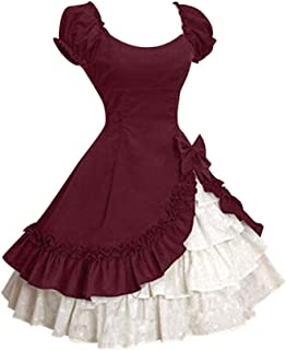 Women's Dresses,Venfamo Cap Sleeve Bow Tie Ruffle Dress Medieval Gothic Lolita Mini Dress Princess Dress