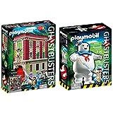 PLAYMOBIL 9219 Ghostbusters, Cuartel Parque de Bomberos, a Partir de 6 Años + Ghostbusters Muñeco Marshmallow, A Partir de 6 Años (9221)
