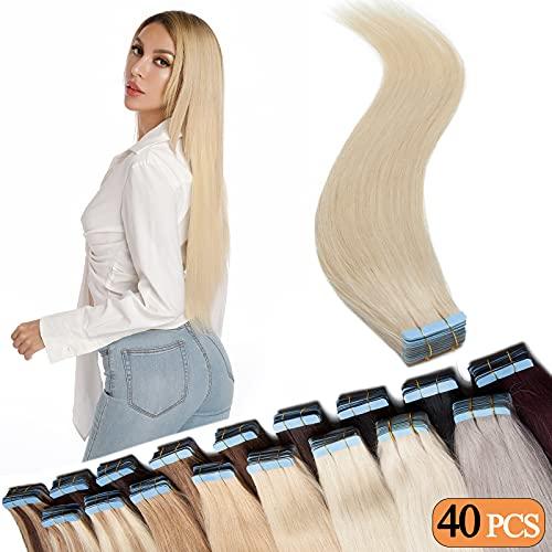 SEGO Extension Biadesivo Capelli Veri Biadesive 40 Fasce Adesive 100g Tape Extensions 40cm 100% Remy Human Hair Biondi Senza Clip (#60 Biondo Platino)