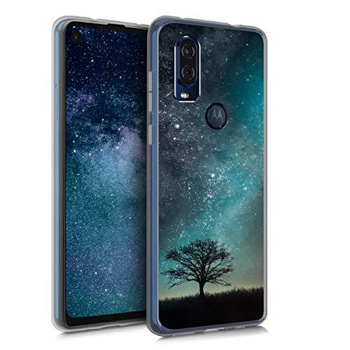 kwmobile Motorola One Vision Hülle - Handyhülle für Motorola One Vision - Handy Case in Galaxie Baum Wiese Design Blau Grau Schwarz