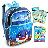 Baby Shark Backpack Travel Bag for Boys Toddlers Kids ~ 3 Pc Bundle With Premium 16