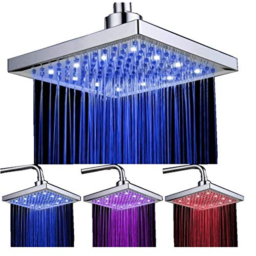 DELIPOP HN-11 LED Shower Head Temperature 3 Color Changing 8 inch Square ABS Chrome Finish 12 Leds For the Bathroom