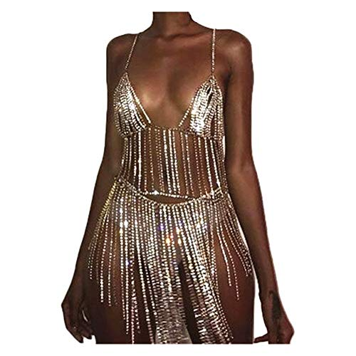 MineSign Sexy Jewelry Set Womens Rhinestone Body Chain Bra Belly Dress Chians for African Swimsuits Gold