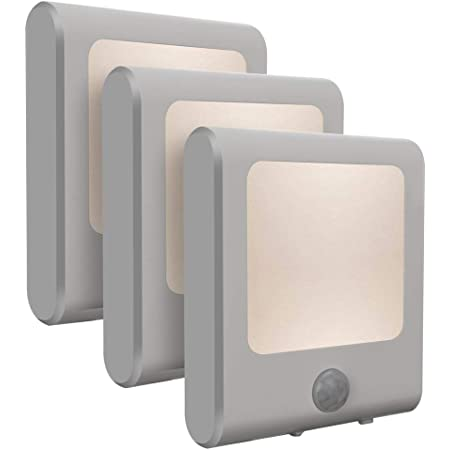 [Paquete de 3] Vintar Sensor de movimiento luz nocturna LED regulable, luz nocturna enchufable con sensor automático de atardecer a amanecer, brillo ajustable luces blancas cálidas para pasillo, habitación de los niños, cocina, escaleras, baño
