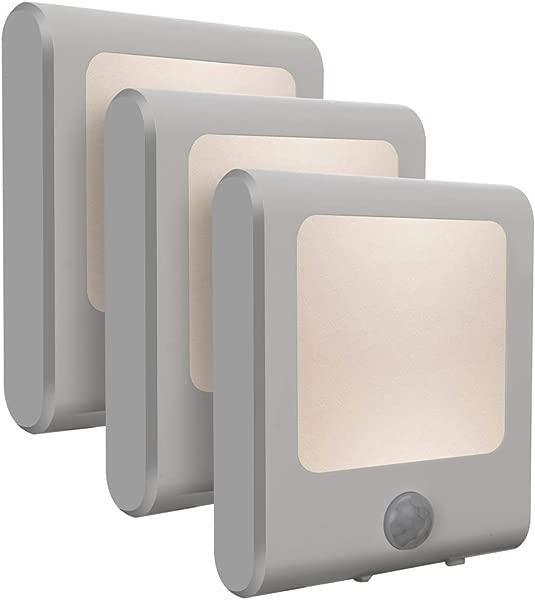 3Pack Vintar Motion Sensor Dimmable LED Night Light Plug In Nightlight With Auto Dusk To Dawn Sensor Adjustable Brightness Warm White Lights For Hallway Kids Room Kitchen Stairway Bathroom