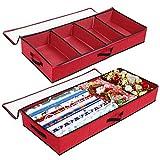 SOLEDI Organizzatore Armadio 2 Pezzi Progettato per Essere Riposto sotto Il Letto e La Parte Superiore dell'Armadio Scatole per Armadio Perorganizzate Trapunte, Vestiti e Decorazioni Vacanza (Rosso)