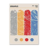 バウハウスポスターとプリント抽象線幾何学模様壁アートミニマリストクリエイティブキャンバス絵画現代写真家の装飾50x70cmx1フレームなし