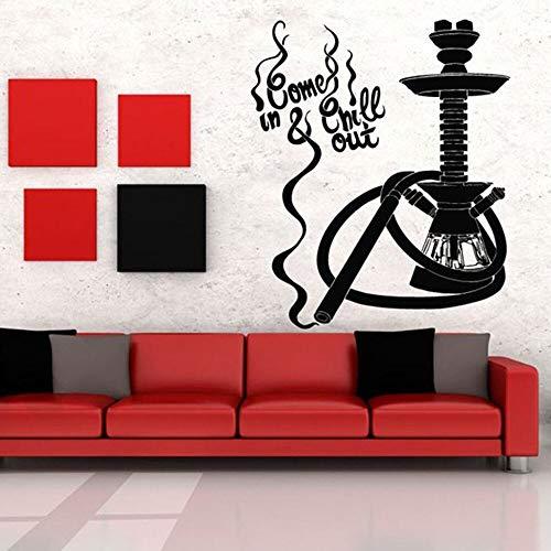 Hookah Bar Logo Sign Shisha Lounge Cotizaciones Botella para fumar Paja Vinilo Etiqueta de la pared Arte Calcomanía Dormitorio Sala de estar Club Studio Cafe Decoración para el hogar Mural