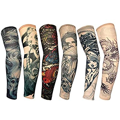 Gjiner 1-6Pcs Anti-UV Sunshine Fashion Men and Women Tattoo Arm Leg Sleeves High Elastic Nylon Halloween Party Dance Party Tattoo Sleeve All