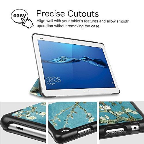 Fintie Huawei Mediapad M3 Lite 10 Hülle - Ultra Dünn Superleicht SlimShell Case Cover Schutzhülle Etui Tasche mit Zwei Einstellbarem Standfunktion für Huawei Mediapad M3 Lite 10 Zoll, Mandelblüten - 6