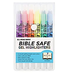 Bible Safe Gel Highlighters - 6 Bright Neon Highlight Colors - Won't Bleed, Fade or Smear - Study Guide