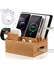 Pezin & Hulin Bamboo Charging Station for Multiple Devices,Electronic Device Desktop Dock Stations Organizer.