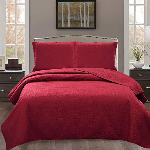 "JML 3 Piece Reversible Quilt Set - Solid Color Embossed - Soft Microfiber Lightweight Coverlet Bedspread for All Season (Floral Embossed - Burgundy, King 92""x104"")"