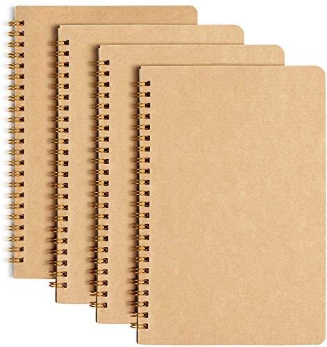 Collegeblock A5, GuKKK 4 Pcs Spirale Notizblock, Notizbücher, Classic Tagebuch Schreibblock Zeichenblock, Notizen Buch, Cover Kraftpapie Notizbuch, für Memos, Malen und Graffiti (50 Blatt)
