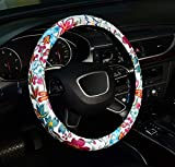 ZHOL Universal 15-inch Microfiber Leather New Flower Car Steering Wheel Cover, Green